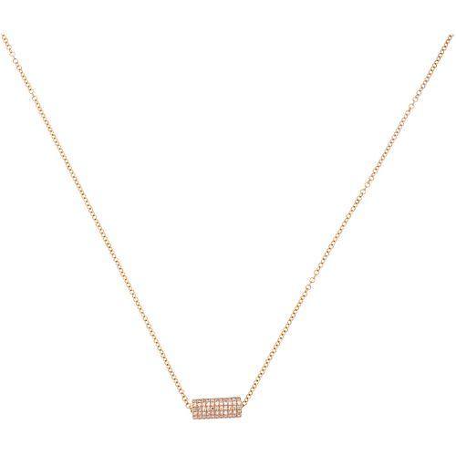 GARGANTILLA CON DIAMANTES EN ORO ROSA DE 14K con diamantes corte 8x8 ~0.15 ct. Peso: 2.1 g | CHOKER WITH DIAMONDS IN 14K PINK GOLD 8x8 cut diamonds ~0