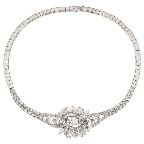 GARGANTILLA CON DIAMANTES EN PLATINO Y PLATA PALADIO con un diamante corte brillante ~2.0 ct Claridad: VS2-SI1 y diamantes ~6.7 ct | CHOKER WITH DIAMO