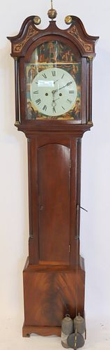 Antique Mahogany Grandfather Clock With Hand