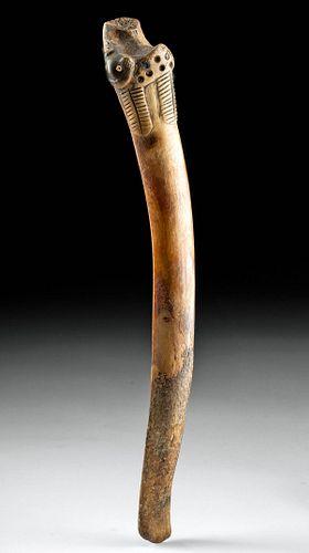 Paracas Bone Spatula / Drug Spoon w/ Spotted Jaguar