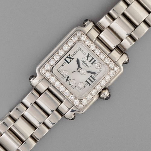 Chopard, Stainless Steel and Diamond Happy Sport Square Bracelet Watch, ca. 2000