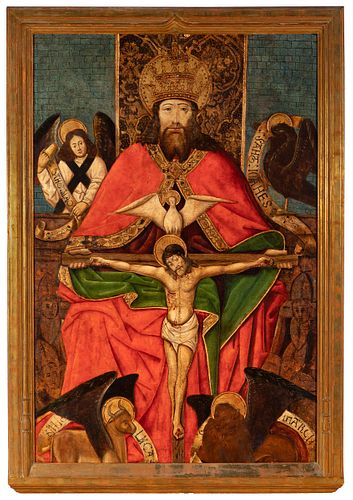 """Aragonese school of the third quarter of the 15th century.  """"The Trinity"""".  Tempera painting on panel and gold background."""