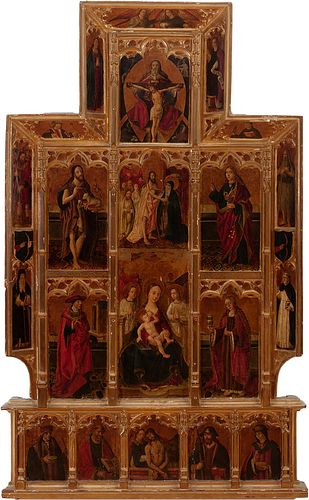 Valencian school. Group of the Master of Perea, late fifteenth century.  Altarpiece of the Virgin of the Milk.  Tempera on panel.