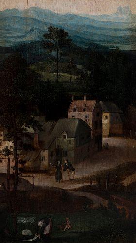 "BRUEGHEL family; Second half of the sixteenth century.  ""Landscape.""  Oil on oak panel. Cradled"