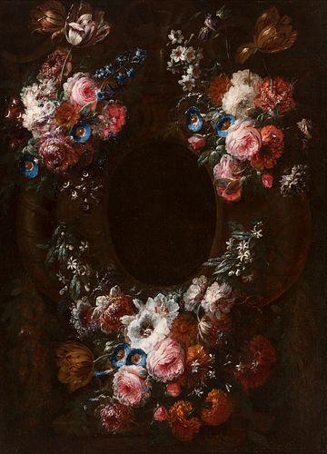 "JEAN-BAPTISTE MOREL (Antwerp, 1662-1732); last third of the 17th century.  Orla de flores"" (""Flower border"").  Oil on canvas, Re linen backed.  Signed"