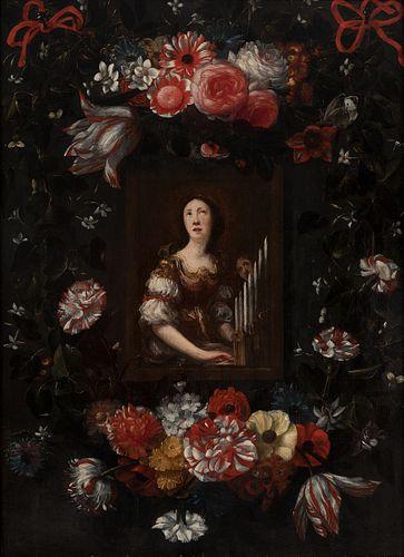 "MICHEL DE BOUILLON (Belgium, act. 1638 - 1673).  ""Saint Cecilia in a border of flowers"".  Oil on oak panel.  It has a frame following 17th century mod"