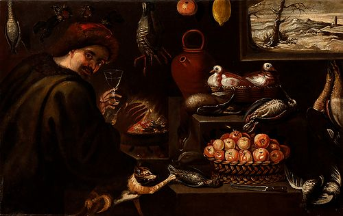 """Attributed to FRANCISCO BARRERA (Madrid, 1595 - 1658).  """"Still life of kitchen with figure and animals"""".  Oil on canvas.  Measurements: 86,5 x 136 cm."""