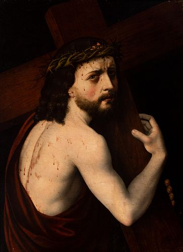 """Spanish master, ca. 1560.  """"Christ Carrying the Cross.  Oil on pine panel.  Provenance: Milá Collection Barcelona with old attribution to Sebastiano d"""