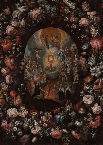 """Attributed to ANDRÉS PÉREZ (Seville, 1660- 1727). """"Allegory of the Eucharist in a border of flowers"""". Oil on canvas. It has restorations and repaintin"""