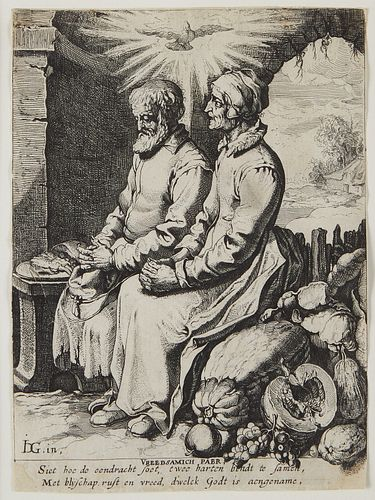 """Group of Two Prints by Jacques de Gheyn """"Vreedsamich Paer"""" and Wealth"""