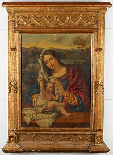 Madonna and Child Painting on Panel Follower of Bernard van Orley