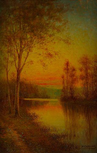 Henry Carling Barbizon Painting Sunset