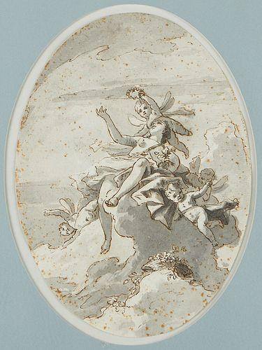 Venetian Old Master Drawing Venus w/ Putti