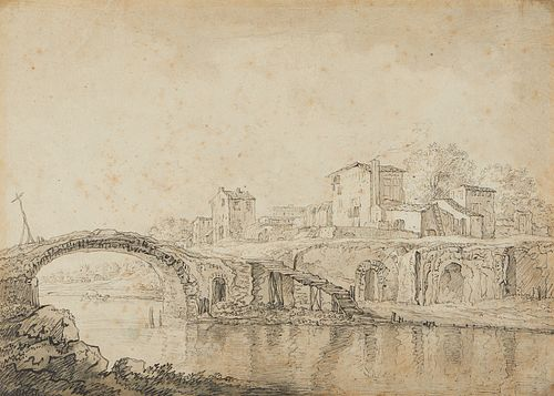 Italian Old Master Pen and Ink Landscape Drawing