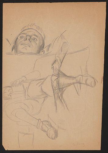 Paul Cadmus Figure Reading Graphite on Paper