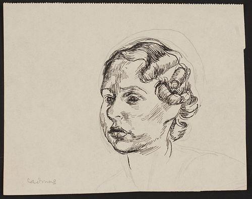 Paul Cadmus Portrait Ink and Graphite on Paper