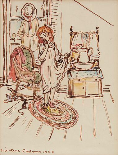 Fidelma Cadmus Kirstein Girl in Bedroom Drawing