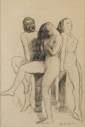 Guy Pene Du Bois Graphite Drawing Nudes