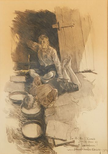 Howard Chandler Christy Charcoal on Paper Fresh Milk