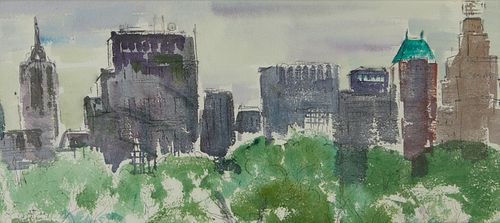 Jo Lutz Rollins NYC Cityscape Watercolor Painting