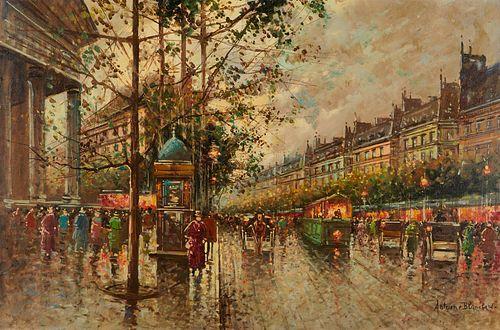 Antoine Blanchard Paris Street Scene Oil on Canvas