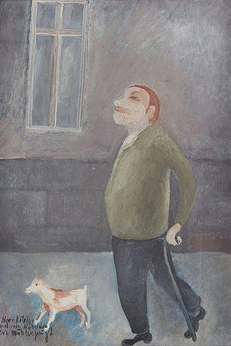 Kurt Muhlenhaupt Oil on Canvas Painting Man w/ Dog