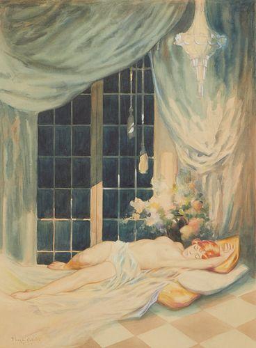 Charles Rubino Watercolor Nude Lounging