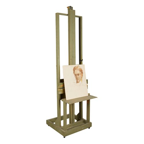 Charles Rubino Unfinished Portrait and Easel