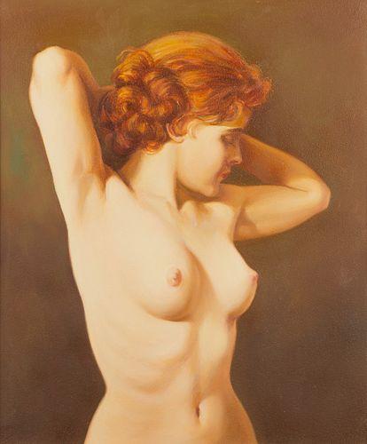 Charles Rubino Stretching Nude Oil Painting