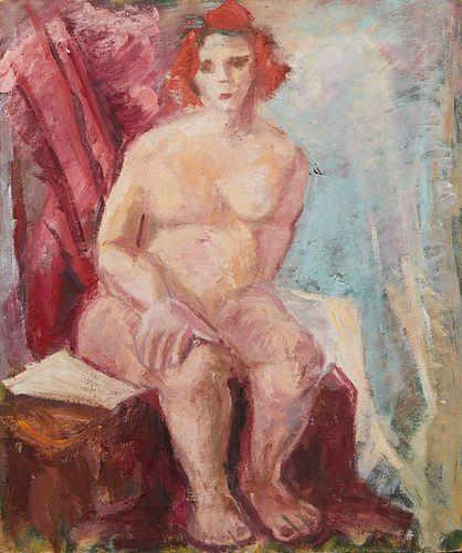 Elizabeth Grant Female Nude w/ Red Hair Painting on Board