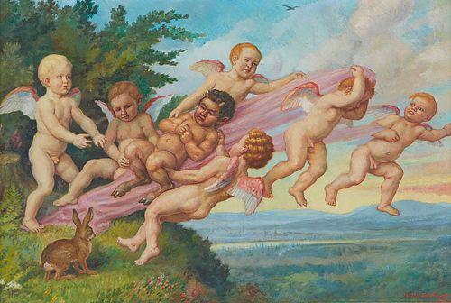 Adolf Glattacker Cherubs w/ Satyr Painting