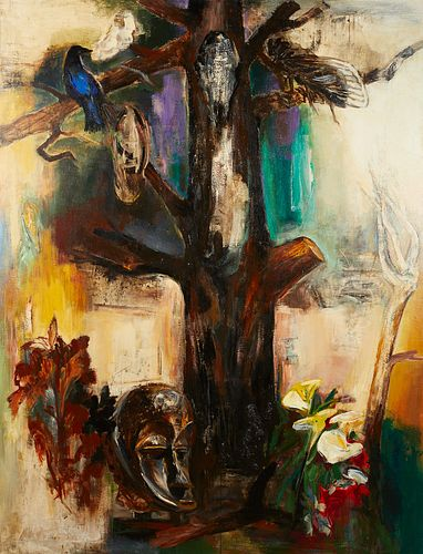 """Chihung Yang """"The Enigma of the Tree"""" Mixed Media Painting"""