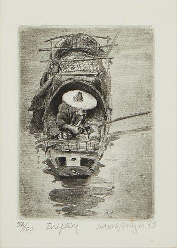 """Sarah Brayer """"Drifting"""" Aquatint 1983"""