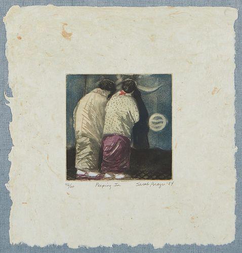 "Sarah Brayer ""Peeping In"" Aquatint 1984"
