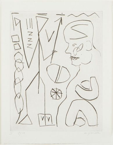 """A.R. Penck """"Ubergang (Passage)"""" Drypoint"""