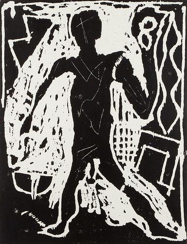 "A.R. Penck ""Die Arbeit Geht Weiter (This Work Continues On)"" Woodcut"