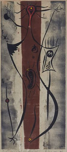 """Seong Moy """"Mother and Child"""" Woodblock Print 1946"""