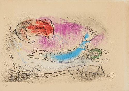 "Marc Chagall ""Blue Fish"" Lithograph"