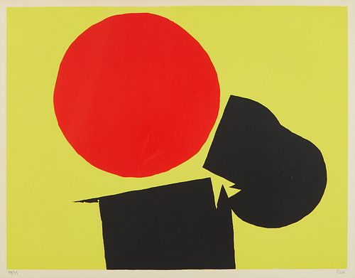 Luis Lopez Screenprint Abstract w/ Red Sun