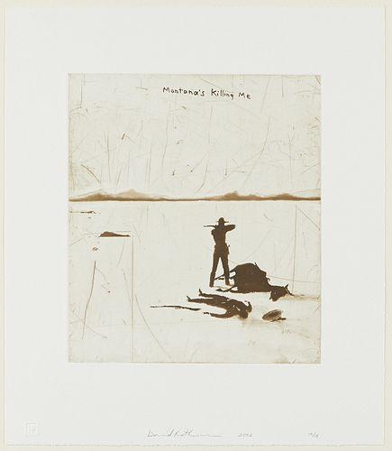 """David Rathman """"Montana's Killing Me"""" Etching & Aquatint"""