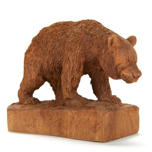 J.L. Clarke Carved Wood Bear Sculpture