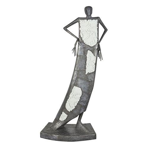 Large Leslie Hawk Female Figure Concrete, lead, and Opaque glass