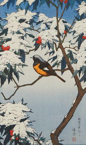 Toshi Yoshida Woodblock Print Birds Winter