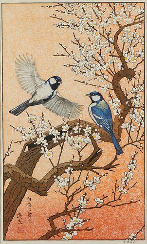 Toshi Yoshida Woodblock Print Birds Spring