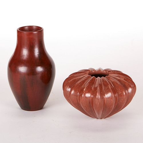 Grp: 2 Alice Cling and Redware Lobed Vase
