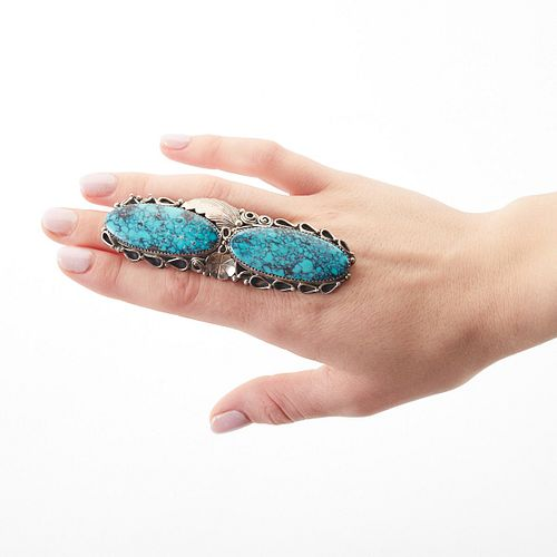 Massive Navajo Silver Turquoise Ring