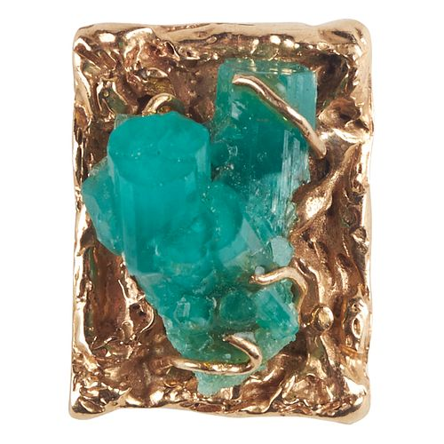 14K Yellow Gold Rough Emerald Pendant