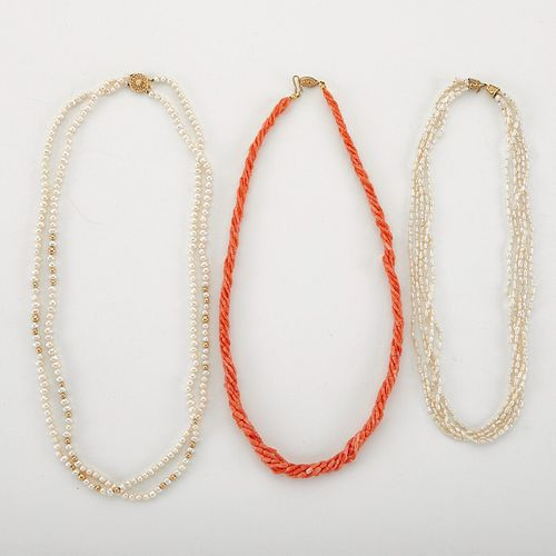 Grp: 3 Pearl and Coral Necklaces - 2 Gold Clasps