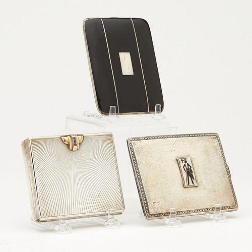 Grp: 3 Art Deco Silver Cigarette Cases