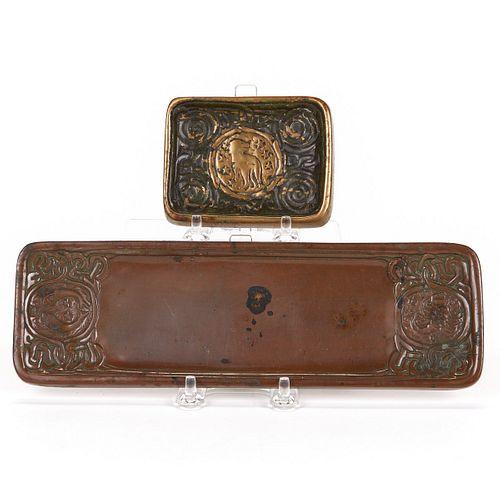 Grp: 3 Tiffany Bronze Objects Zodiac Desk Set